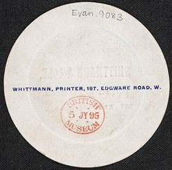 Advert for Whittmann & Cole, Printers & Stationers, reverse side